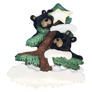 Black Bear Couple Personalized Christmas Ornament - Blank