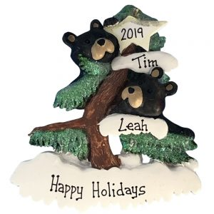 Black Bear Christmas Tree Couple Personalized Ornament