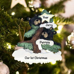Personalized Black Bear Couple Christmas Ornament