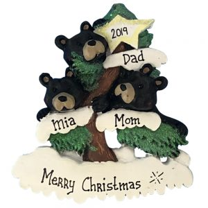 Black Bear Christmas Tree Family Of 3 Personalized Ornament