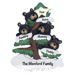 Black Bear Family of 4 Personalized Christmas Ornament