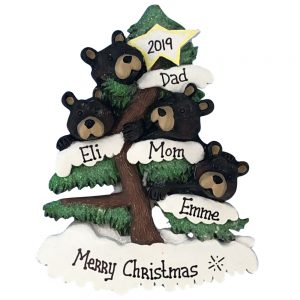 Black Bear Christmas Tree Family Of 4 Personalized Ornament