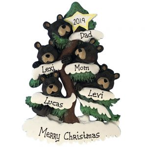 Black Bear Christmas Tree Family Of 5 Personalized Ornament