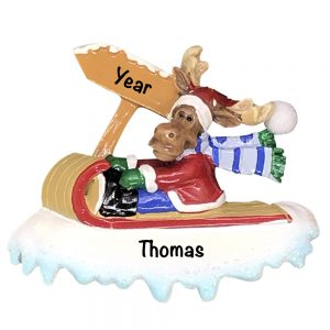 Moose On Sled Personalized Christmas Ornament