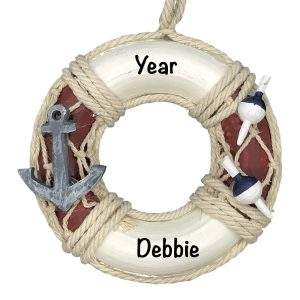 Life Ring Anchor Personalized Christmas Ornament