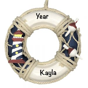 Life Ring Lighthouse Personalized Christmas Ornament