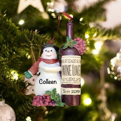 Personalized Snowman Wine Bottle Christmas Ornament