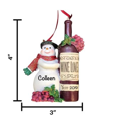 Snowman Wine Bottle Personalized Christmas Ornament