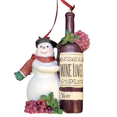 Snowman Wine Bottle Personalized Christmas Ornament - Blank