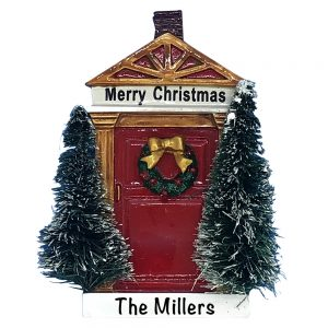 Merry Christmas Red Door Personalized Christmas Ornament
