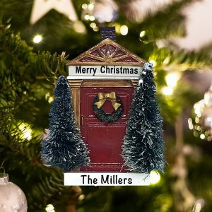 Personalized Merry Christmas Red Door Christmas Ornament