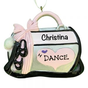 I Love Dance Bag Personalized Christmas Ornament