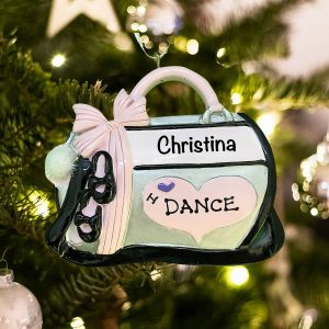 Personalized I Love Dance Bag Christmas Ornament
