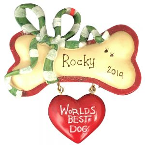 Worlds Best Dog Personalized Christmas Ornament