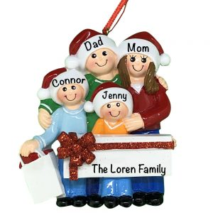 Gift Family of 4 Personalized Christmas Ornament