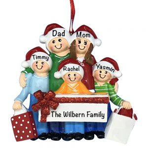 Gift Family of 5 Personalized Christmas Ornament