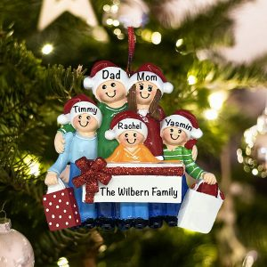 Personalized Gift Family of 5 Christmas Ornament