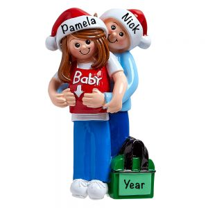 It's A Baby Expecting Couple Personalized Christmas Ornament