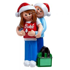 It's A Baby Expecting Couple Personalized Christmas Ornament - Blank