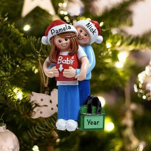Personalized Its A Baby Expecting Couple Christmas Ornament
