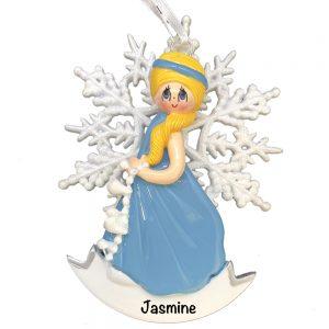 Snow Princess Blonde Elsa Personalized Christmas Ornament