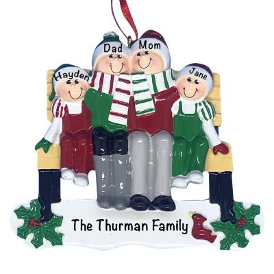 Park Bench Family of 4 Personalized Christmas Ornament