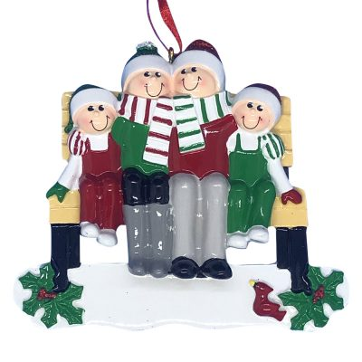 Park Bench Family of 4 Personalized Christmas Ornament -blank