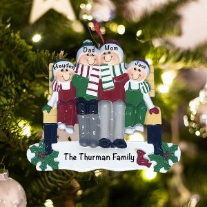 Personalized Park Bench Family of 4 Christmas Ornament