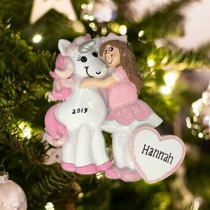 Personalized Princess with Unicorn Christmas Ornament