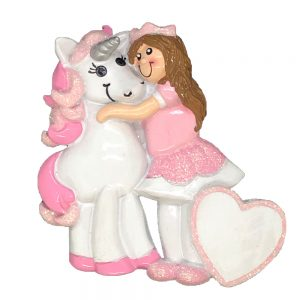 Princess with Unicorn Personalized Christmas Ornament - Blank