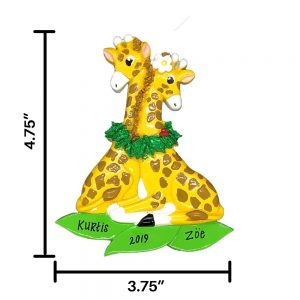 Giraffe Couple Personalized Christmas Ornament