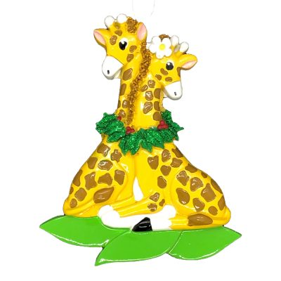 Giraffe Couple Personalized Christmas Ornament - Blank