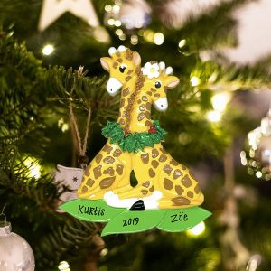 Personalized Giraffe Couple Christmas Ornament
