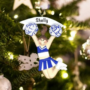 Personalized Cheerleader Girl Blue Christmas Ornament