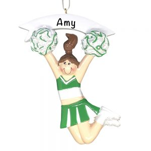 Cheerleader Girl Green Personalized Christmas Ornament