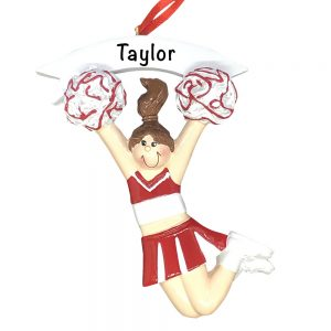 Cheerleader Girl Red Personalized Christmas Ornament