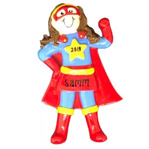 Super Hero Girl Personalized Christmas Ornament