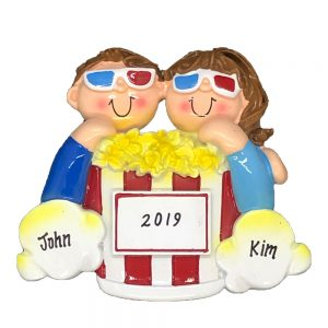 Movie Night Couple Personalized Christmas Ornament