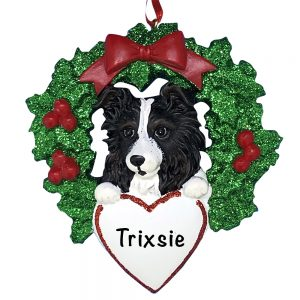 Australian Sheepdog With Wreath Personalized Christmas Ornament