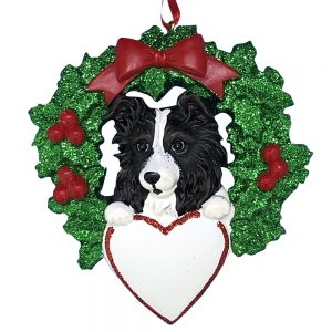 Australian Sheepdog With Wreath Personalized Christmas Ornament -blank