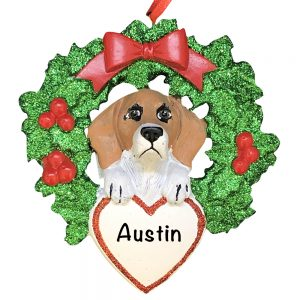 Beagle With Wreath Personalized Christmas Ornament
