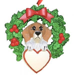 Beagle With Wreath Personalized Christmas Ornament - Blank