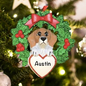 Personalized Beagle with Wreath Christmas Ornament