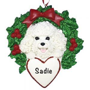 Bichon With Wreath Personalized Christmas Ornament