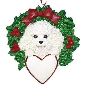 Bichon With Wreath Personalized Christmas Ornament -blank