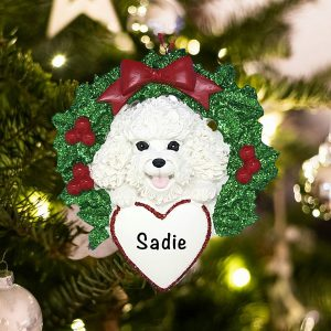 Personalized Bichon with Wreath Christmas Ornament