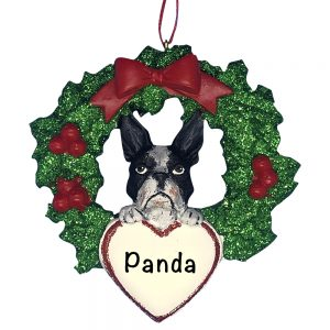 Boston Terrier With Wreath Personalized Christmas Ornament