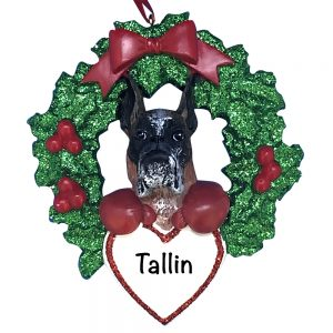 Boxer With Wreath Personalized Christmas Ornament