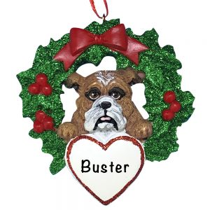 Bulldog With Wreath Personalized Christmas Ornament