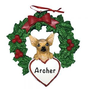 Chihuahua With Wreath Personalized Christmas Ornament